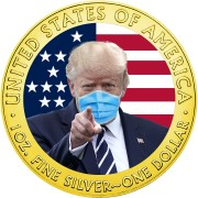 USA DONALD TRUMP Face Mask COVID series CORONAVIRUS American Silver Eagle 2020 Walking Liberty $1 Silver coin Gold plated 1 oz